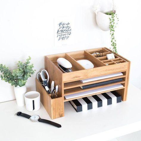 Organisateur de fournitures de bureau en bois à la maison | Stockage de bureau | Rangement de bureau | Station d'accueil … - myoyun.org/decoration