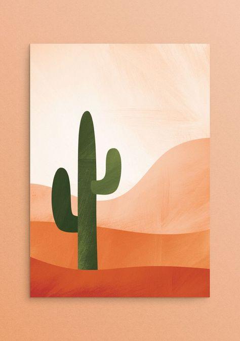Cactus Print - Printable Desert Wall Art, Southwestern Decor, Desert Print, College Dorm Decor, Bedroom W Simple Canvas Paintings, Easy Canvas Art, Small Canvas Art, Mini Canvas Art, Cute Paintings, Easy Art, Diy Canvas, Easy Wall Art, Easy Canvas Painting