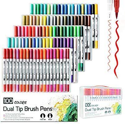 Laconile 100 Farben Dual Aquarell Pinsel Stift Art Marker Mit 2 Mm