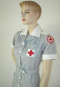WWII VINTAGE 40s 50s AMERICAN RED CROSS VOLUNTEER NURSE UNIFORM DRESS HAT PATCH | eBay