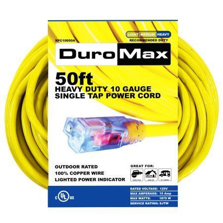 Duromax Xpc10050a 50 Foot 10 Gauge Single Tap Extension Power Cord Other Outdoor Extension Cord Extension Cord Cord