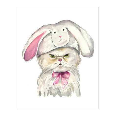Darling Lola: Grumpy Bunny Cat Print