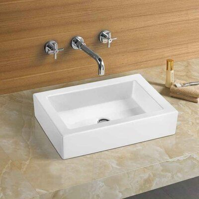 American Imaginations 22 In W Above Counter White Vessel For Deck Mount Deck Mount Drilling Sink Wall Mounted Bathroom Sinks Console Sink