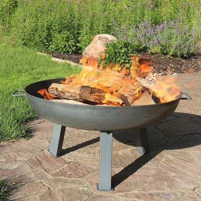 Rustic 30 Steel Wood Burning Fire Pit Bowl Round Sunnydaze Decor Gray Wood Burning Fire Pit Fire Pit Bowl Fire Pit Patio