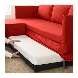 Brathult Sofa Cama Esquina Borred Verde Grisaceo Sofa Rojo