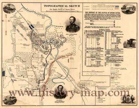 24x36 Vintage Reproduction Civil War Map Battle-Field of Perryville KY 1862