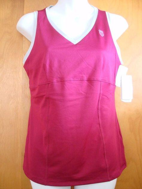 NEW K Swiss Sleeveless Tennis Tank Top Shirt Red Maroon Gray