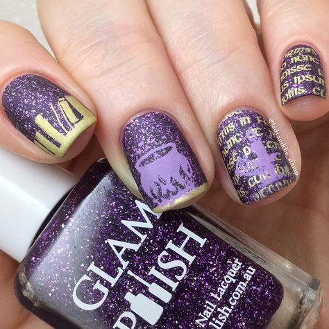had little help from one of our HD plates to create this brilliant witches spell book manicure