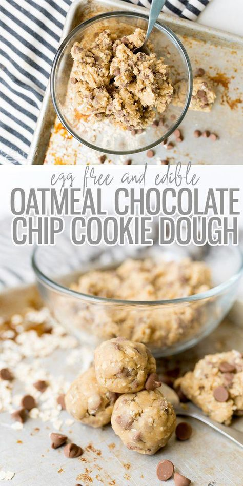 Oatmeal Chocolate Chip Cookie Dough is an egg free cookie dough that is safe to eat! It tastes just like the real thing! Satisfy that cookie dough craving with this super easy recipe! |Cooking with Karli| #cookiedough #eggfree #edible #oatmeal #chocolatechip #SomeHealthyFood