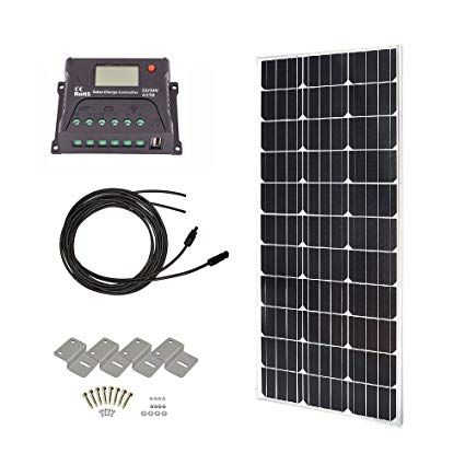 Hqst 100 Watts 12 Volts Monocrystalline Slim Solar Panel Off Grid Rv And Boat Kit With 20a Pwm Lcd Display Ch Solar Panels Mounting Brackets Solar Panel System