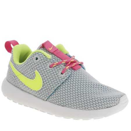 nike roshe run grey pink and neon yellow
