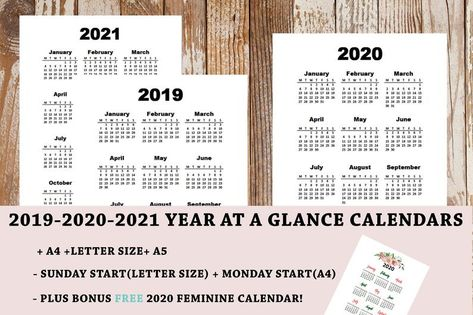 2019 2020 2021 Printable Calendar Year At A Glance A4 Image 0 With Images Inspirational Printables Printable Yearly Calendar Printable Calendar