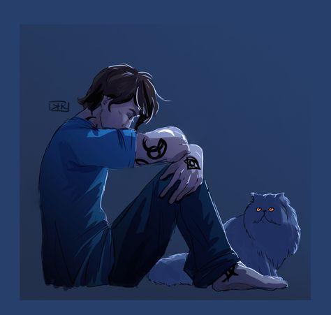 hauntedduckprincess:  Nighttime unhappy Julian and Church keeping him company (2/30)   A boy and his cat.