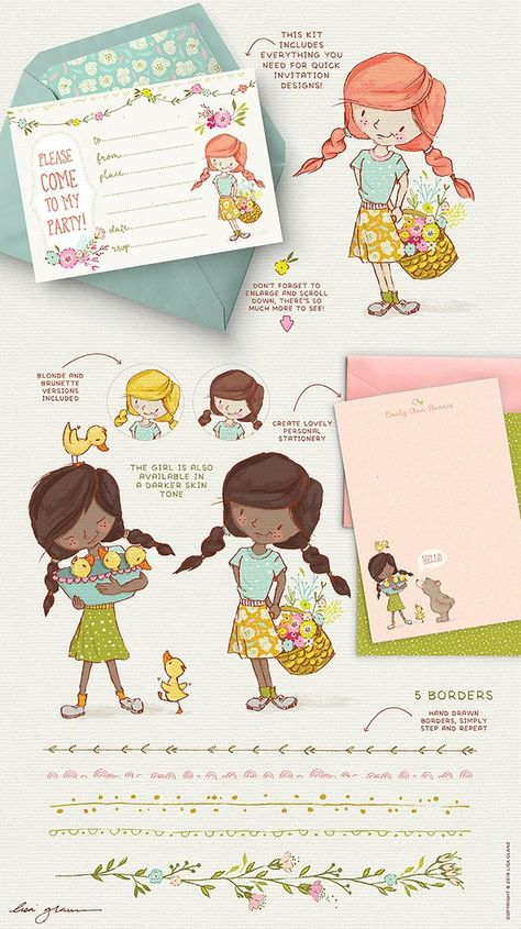 Whip-up happy spring creations in minutes and have fun doing it with these sweet little characters and friends. With over 105 illustrations and elements, you'll have a kit that's ready to create almost anything from invitations, wall art, birth announcements, greeting cards, posters and so much more! pre-designed little scenes to help kick-start your creative process as well as individual DIY elements for more design freedom.  #ad #graphics #blogresources #clipart #cricut #graphicdesign