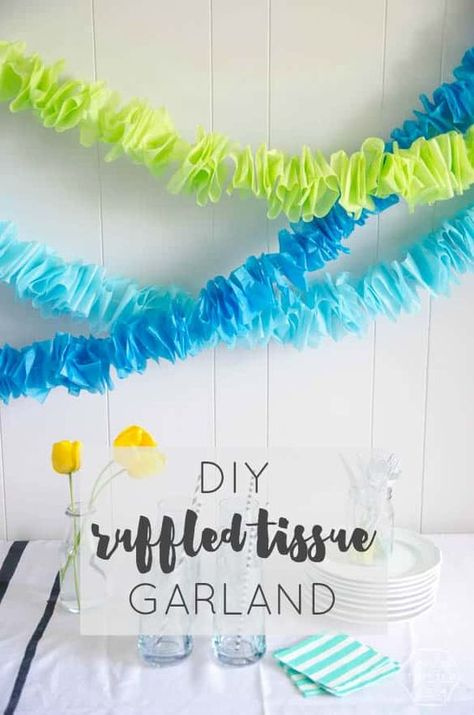 DIY Ruffled Tissue Garland DIY Ruffled Tissue Garland (for only a couple bucks!) LOVE this idea so much! Could be made in any color for any occasion! The post DIY Ruffled Tissue Garland appeared first on Paper Diy. Tissue Paper Decorations, Tissue Paper Garlands, Tissue Paper Crafts, Diy Party Decorations, Diy Paper, Diy Party Garland, Crepe Paper Streamers, Table Garland, Birthday Garland