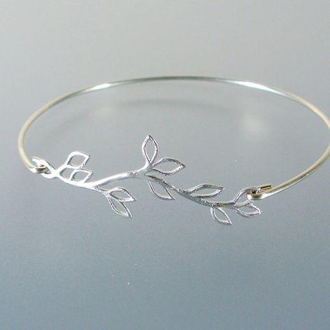 Olive Branch Silver Bangle Bracelet Wedding by LilyAndLouise