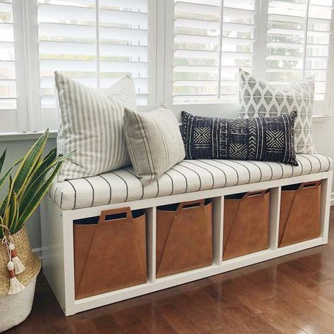 We Love This Ingenious Hack Which Is To Turn An Everyday Ikea Kallax Shelf Into A Bench With Cubby Storage We Cra Ikea Kallax Shelf Cushions Ikea Kallax Ikea