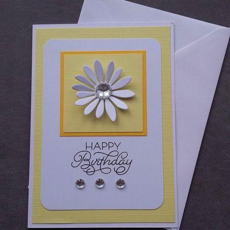 Pale yellow 3d white flower blank handmade happy birthday greetings pale yellow 3d white flower blank handmade happy birthday greetings card for her m4hsunfo