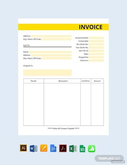 Free Commercial Business Invoice Template Pdf Word Excel Apple Pages Google Docs Google Sheets Illustrator Apple Numbers Invoice Template Invoice Design Template Invoice Design