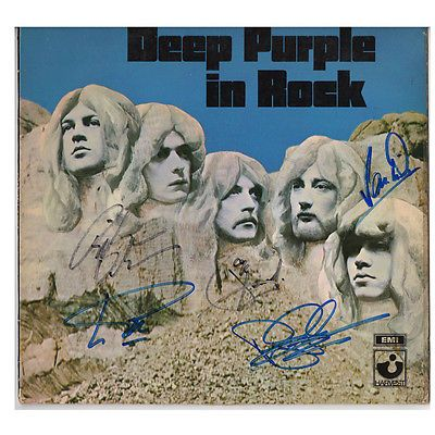 Deep Purple In Rock Signed By Band Vinyl Sleeve Only Original Deep Purple Rock Sign Vinyl Sleeves