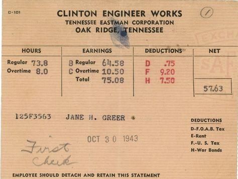A 1943 pay stub for a Y-12 statistician in Oak Ridge #WWII - bomb appraisal officer sample resume