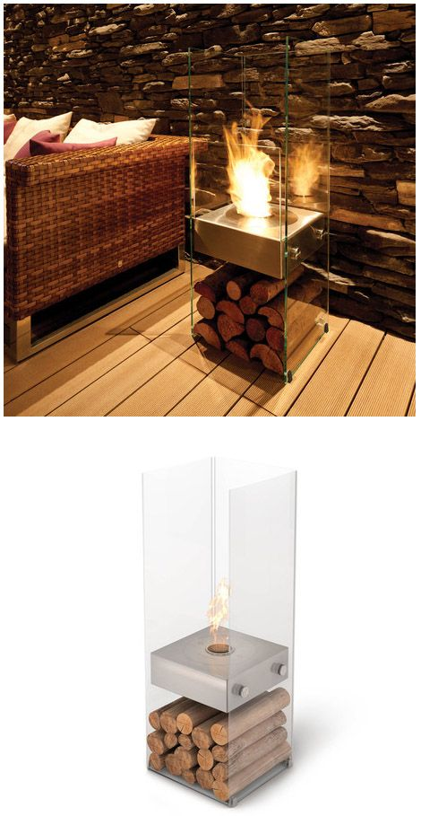 Modern Minimalist Portable Fireplace. Fueled by Bioethanol - environmentally friendly, renewable energy.