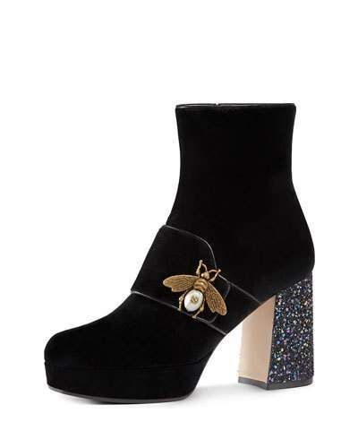 b69975288 Gucci Soko Glitter-Heel Bee Boot, Black | Products | Gucci boots ...