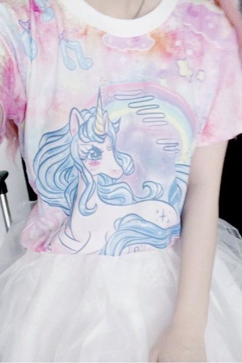 amaitohiko: Unicorn Print t-shirt - White organza flared skirt