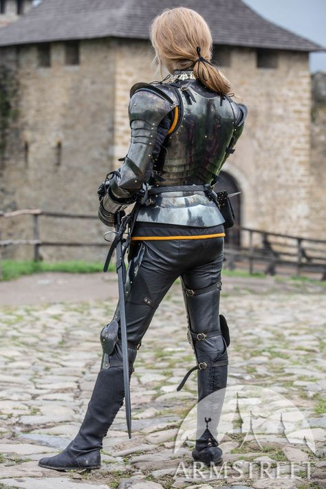 """Female armor kit made of blackened spring steel """"Dark Star"""" for sale :: by medieval store ArmStreet"""