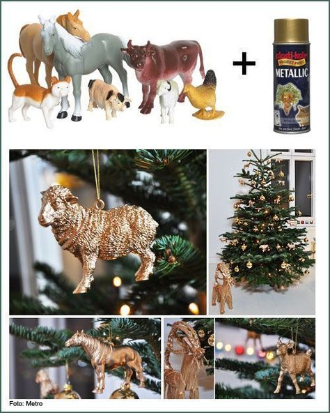 Take your kids plastic toys, spray paint gold and use as ornaments - cool! Or go to dollar store and get animals