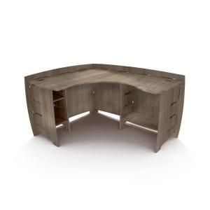 Legare 60 In L Shaped Gray Driftwood Computer Desk With Open Storage Lege Cdgd 120 The Home Depot L Shaped Corner Desk Corner Desk Furniture