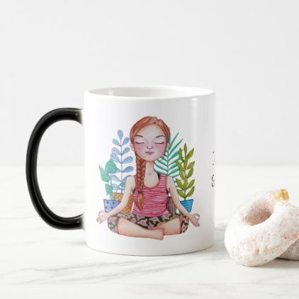 #Meditating Girl With Plants Magic Mug - #drinkware #cool #special