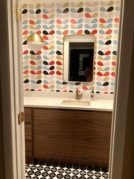 Can You Use Wallpaper In The Bathroom Mid Century Modern Bathroom Modern Bathroom Modern Bathroom Tile