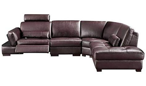 445 Modern Leather Right Facing Sectional Sofa In Dark Brown