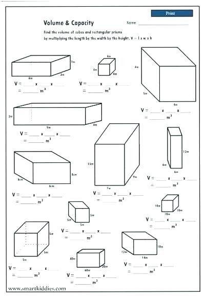 Surface Area Worksheet 7th Grade Volume Rectangular Prism Worksheet Volume Rectangular In 2020 Volume Math Fifth Grade Math 5th Grade Math