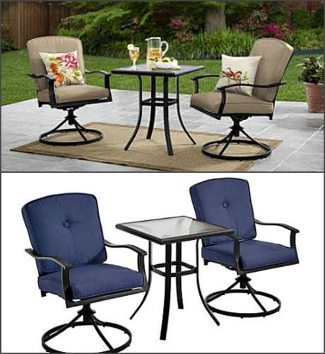 Patio Furniture Sets With Swivel Chairs.Patio Bistro Set 2 Swivel Chairs Table Blue Green Cushions Yard