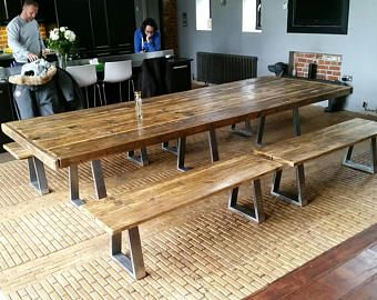 Bespoke Industrial Style 5ft 12 Ft Dining Table With Steel Legs Please Ask For Details Industrial Style Dining Table Dining Table Diy Dining Room Table