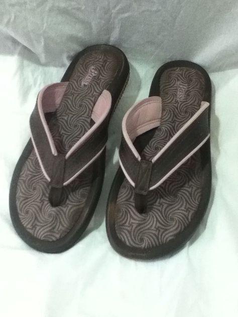 47dfd91ae78 Bass Grendene Womens Sandals Pink Brown Flip Flops size 8 Slip On Open Back   Bass  FlipFlops  Casual
