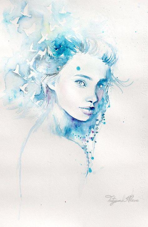 Watercolor Art By Reina Yamada L Art Du Portrait Visage A L