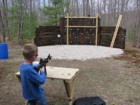 Using Railroad Ties To Build A Shooting Range Outdoor Shooting Range, Shooting Bench, Shooting Stand, Shooting Practice, Outdoor Range, Indoor Shooting, Backyard Projects, Outdoor Projects, Diy Projects