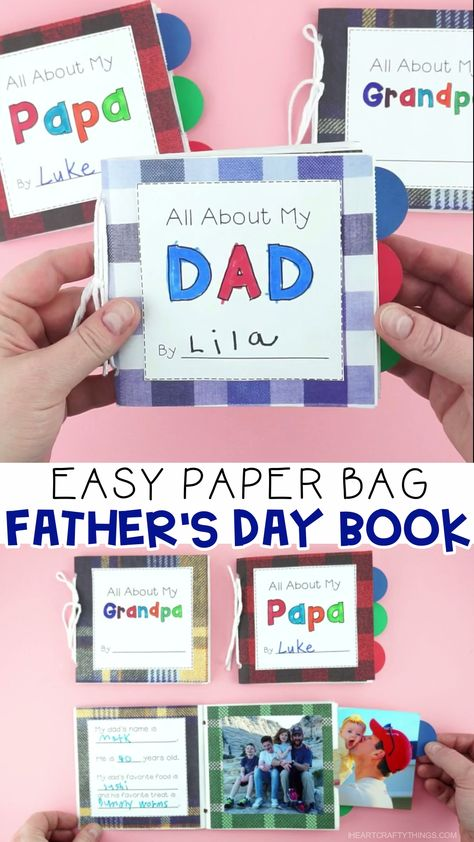 Learn how simple it is to make this darling DIY Father's Day book out of paper lunch bags. Get our free template to customize the Father's Day book for dad, grandpa or papa. This easy Father's Day gift idea is a special keepsake dad, grandpa or papa will treasure forever. Simple Father's Day gifts for kids to make. #iheartcraftythings