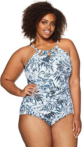 Brand Coastal Blue Womens Plus Size Control Swimwear Cutout-Neck One Piece Swimsuit