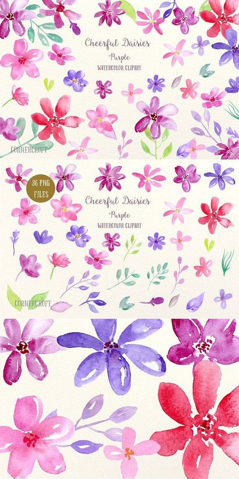 Watercolor Cheerful Daisy Purple. Wedding Card Templates#card #cheerful #daisy #purple #templates #watercolor #wedding