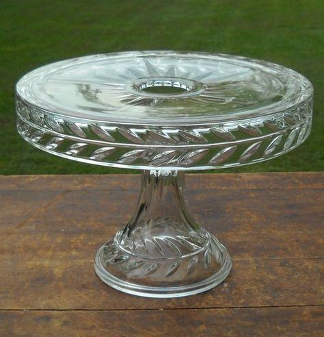 Vintage EAPG Clear Glass Pedestal Cake Stand Plate w Rum Well Star Burst Pattern | eBay