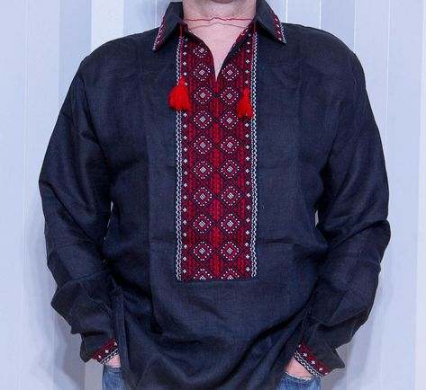 VYSHYVANKA Man Ukraine Embroidery LINEN Blue White S-4XL Father/'s day Sale