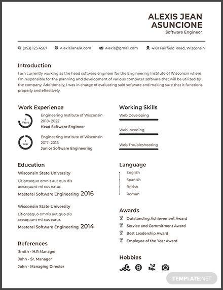 Free Software Quality Engineer Cv Cv Template Resume Template