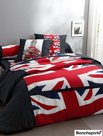 housse de couette imprimée drapeau uk 'blancheporte' rouge/noir