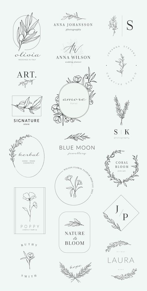 Botanical logos & illustrations by Crocus Paperi on @creativemarket