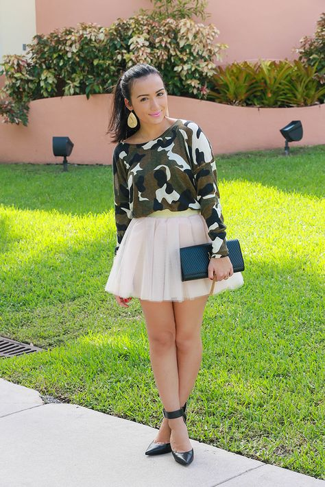 Camo and Tulle #tfd #ontheblog #blogger #miami #ontrend #fashionista #fashion #ysl #michaelkors