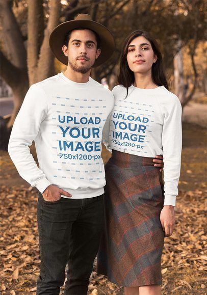 Download Placeit Mockup Of A Couple Wearing Long Sleeve T Shirts In Autumn Clothing Mockup Long Sleeve Tshirt How To Wear